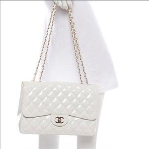 Very Rare Chanel White Patent Glitter Quilted Bag